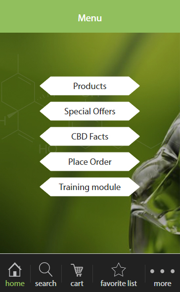 Android mobile web application for selling CBD products
