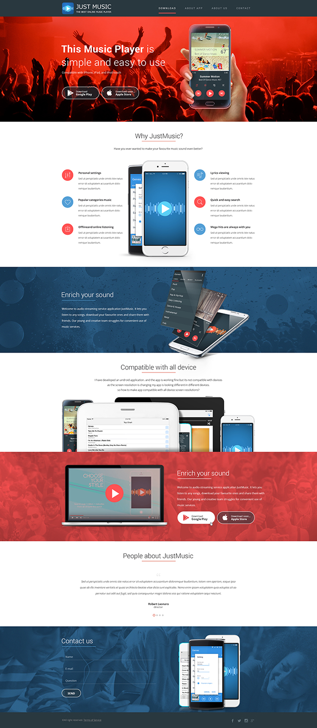 Design for landing page of music mobile application